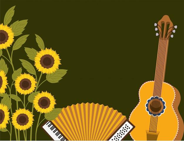 Tournesols avec scène d'instruments de musique Vecteur Premium