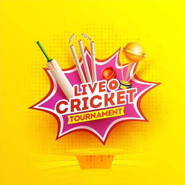 Tournoi de cricket de style pop art Vecteur Premium