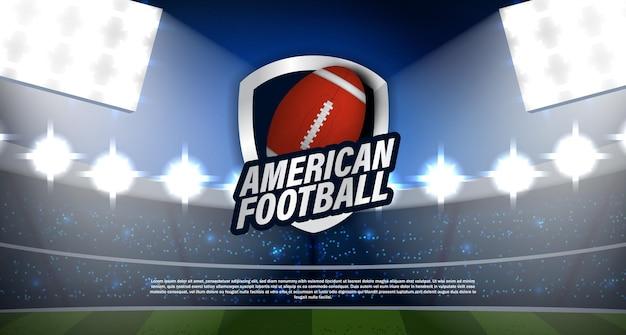 Tournoi De Football Américain Ou De Rugby Avec Championnat De Logo Emblème Balle Avec Stade Et Vecteur Léger Réaliste. Pour La Ligue, Le Championnat, Le Super Bowl De Sport Gagnant Vecteur Premium
