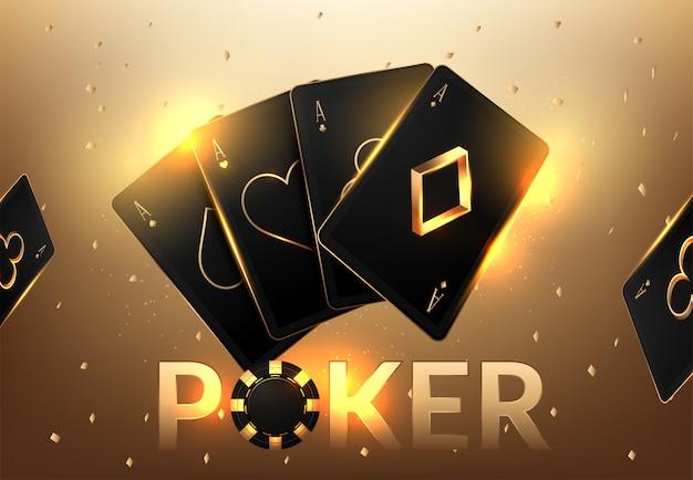 Tournoi de jeux de casino avec cartes à jouer et jetons de casino réalistes Vecteur Premium