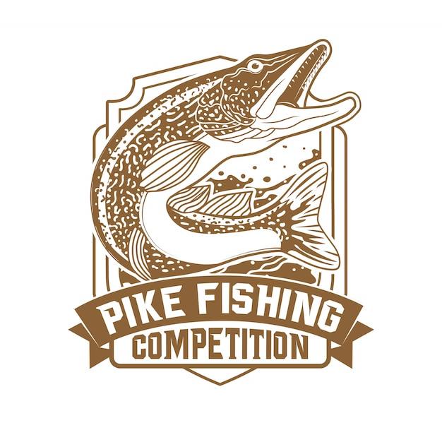 Tournoi de pêche au gros brochet sauvage Vecteur Premium