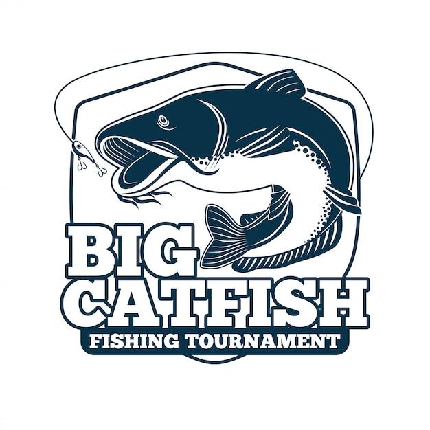 Tournoi de pêche au gros chat Vecteur Premium