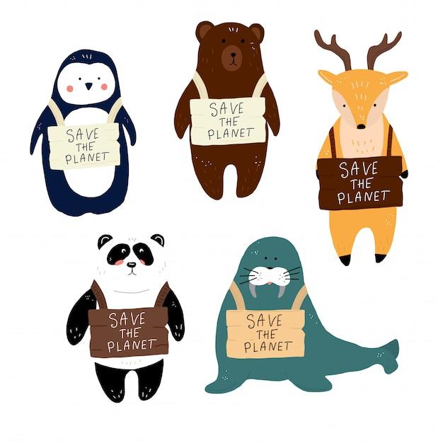 Tous les animaux sauvent la planète Vecteur Premium