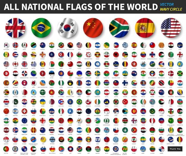 Tous les drapeaux nationaux du monde. conception de drapeau de cercle ondulant Vecteur Premium