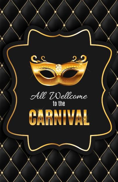 Tous sont les bienvenus au carnaval, événement populaire au brésil. conception avec masque de fête. concept de mascarade. Vecteur Premium