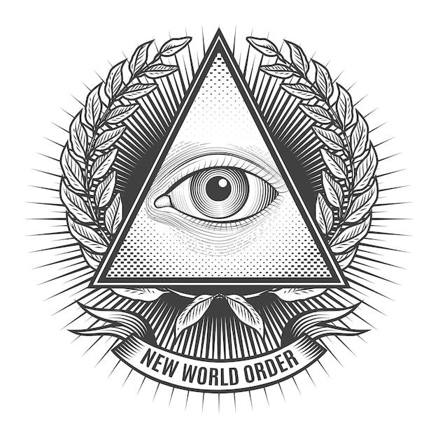 Tous Les Yeux Voyants Dans Le Triangle Delta. Icône De La Pyramide Et De La Franc-maçonnerie, Nouvel Emblème De L'ordre Mondial, Vecteur Premium