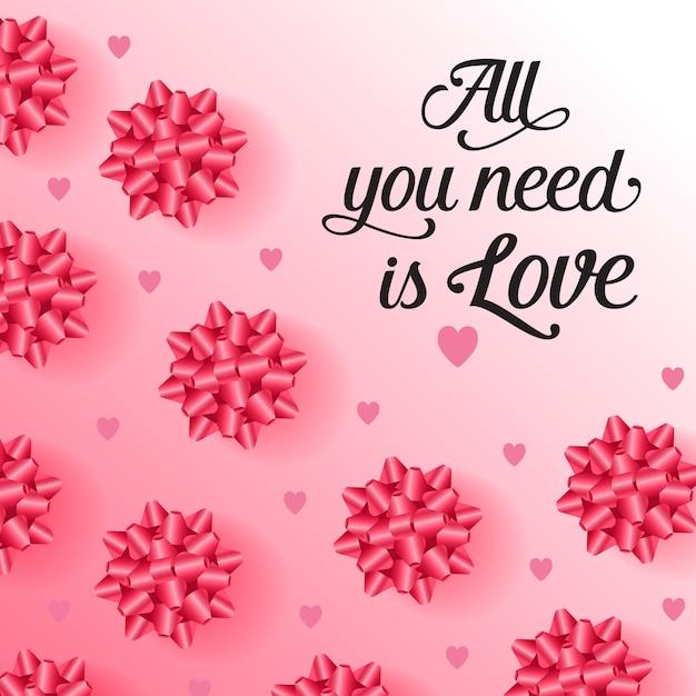 Tout ce dont vous avez besoin est un lettrage d'amour avec des arcs festifs Vecteur gratuit