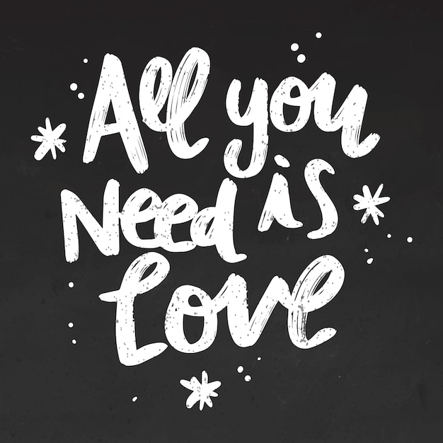 Tout Ce Dont Vous Avez Besoin Est Un Lettrage D'amour Sur Tableau Noir Vecteur gratuit