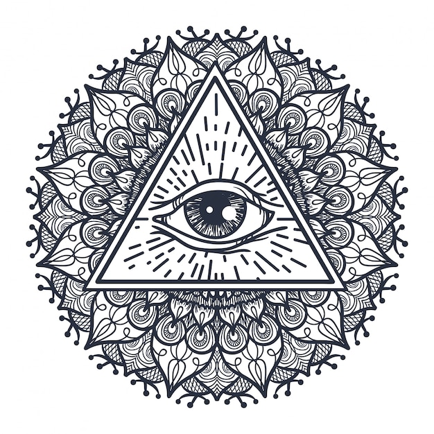 Tout voir les yeux en triangle et mandal Vecteur Premium
