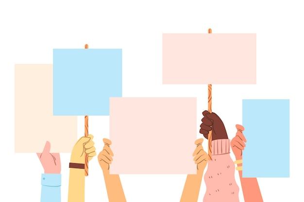 Toutes Les Vies Comptent Des Mains Tenant Des Pancartes Vecteur gratuit