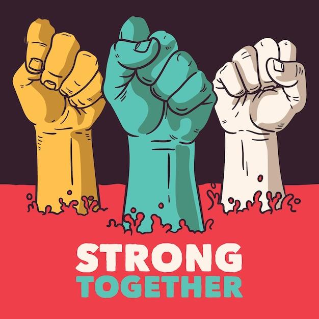 Toutes Les Vies Comptent, Nous Sommes Forts Ensemble Vecteur gratuit