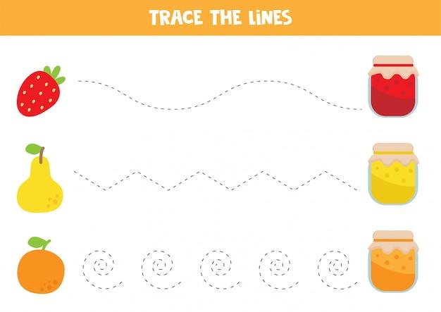 Traçage des lignes avec de la confiture et des fruits. Vecteur Premium