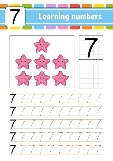 Trace et écrit. pratique de l'écriture. apprentissage des chiffres pour les enfants. Vecteur Premium