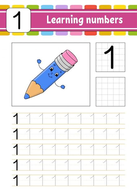 Trace Et écrit. Pratique De L'écriture Manuscrite. Numéros D'apprentissage Pour Les Enfants. Vecteur Premium