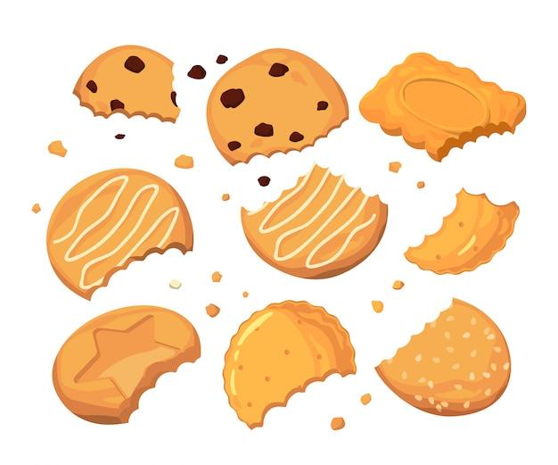 Des traces de piqûres sur les cookies et différentes petites miettes Vecteur Premium