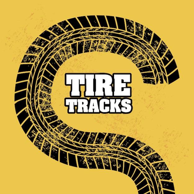 Traces de pneu au cours de l'illustration vectorielle fond orange Vecteur Premium