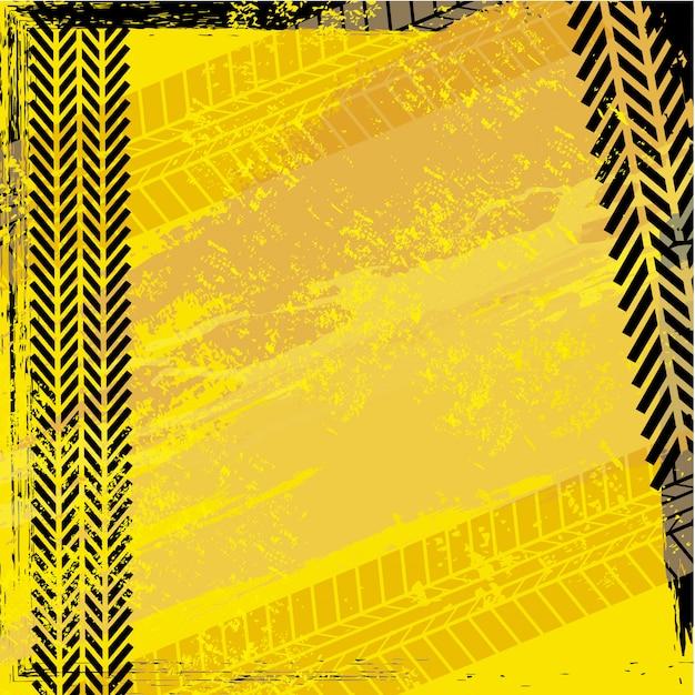 Traces de pneus sur illustration vectorielle fond beige Vecteur Premium