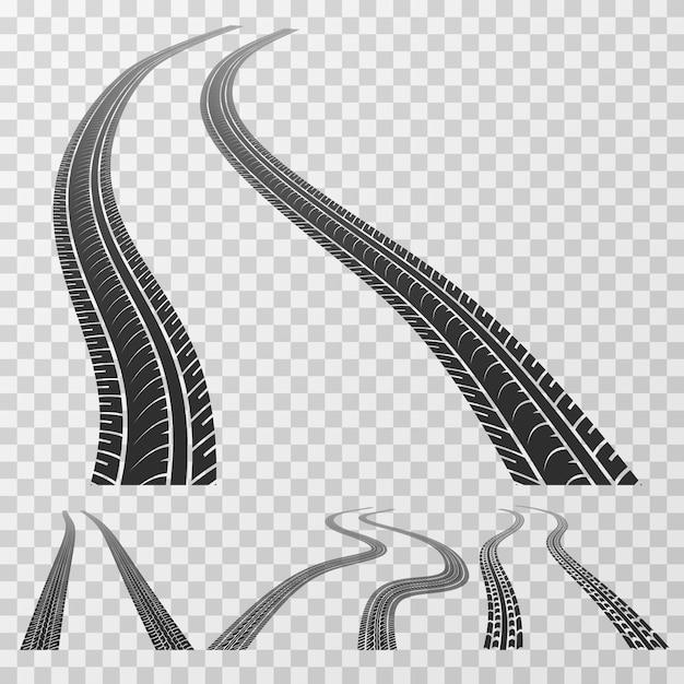 Traces de pneus incurvées à l'horizon Vecteur Premium