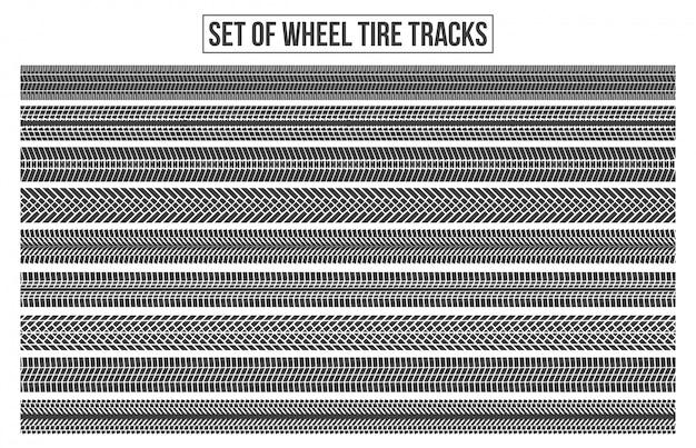 Traces de pneus de roue. trace sinueuse. Vecteur Premium