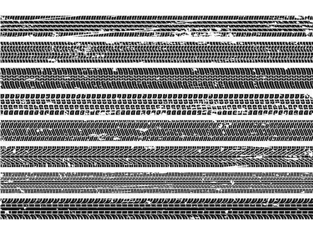 Traces De Pneus De Véhicule. Bande De Roulement Grunge Piste Roue Trace Piste Sale Route Vitesse Dérapage Auto Scratch Impression Texture Collection Vecteur Premium