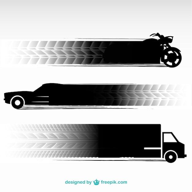 Traces De Pneus De Véhicules De Transport Fixés Vecteur Premium