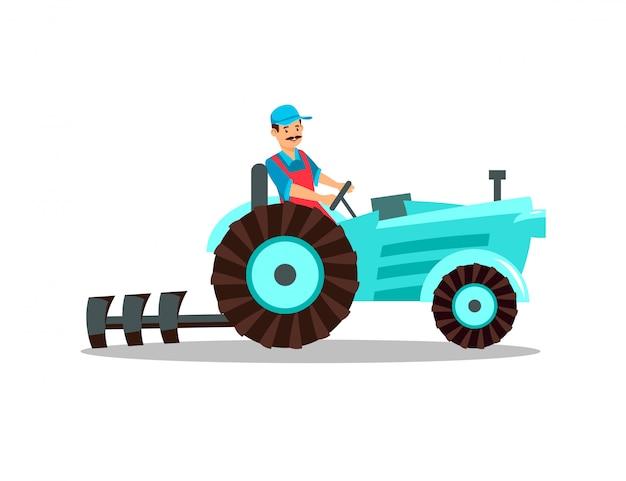 Tracteur De Caractere Fermier Avec Charrue Conducteur De Charrue