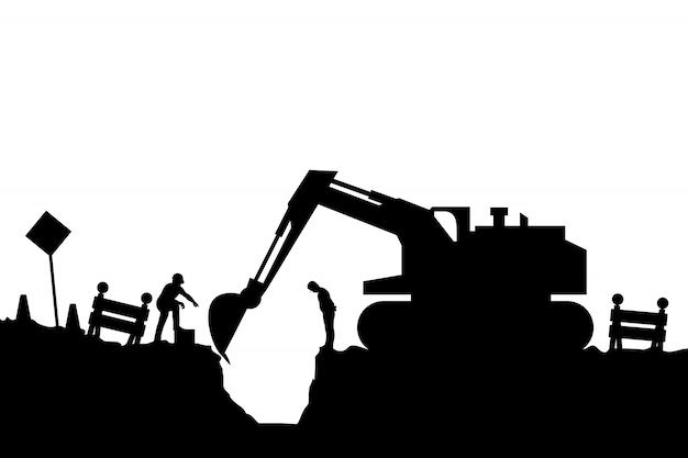 Tracteur Et Constructeurs Silhouette Vecteur Premium