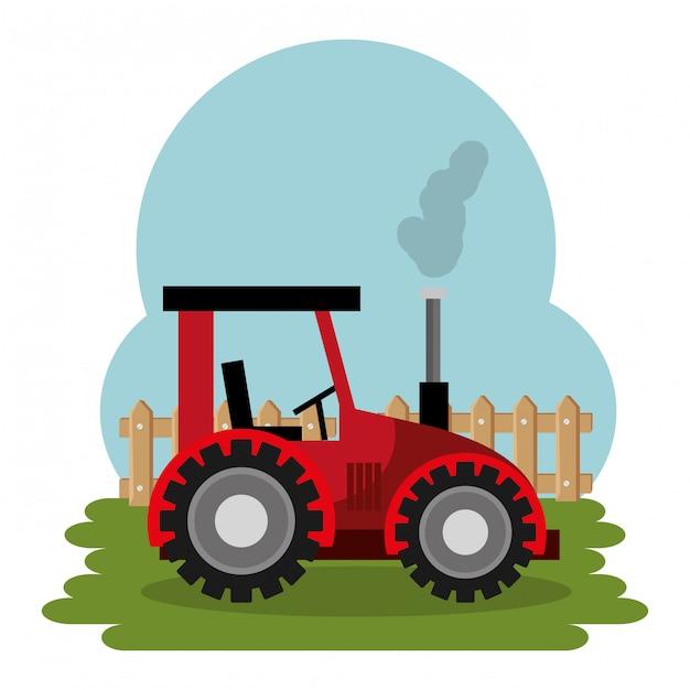 Tracteur Dans La Scène De La Ferme Vecteur gratuit