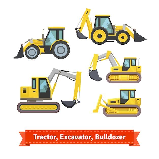 Tracteur, Excavateur, Jeu De Bulldozer Vecteur gratuit
