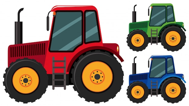 Tracteurs en trois couleurs différentes Vecteur Premium