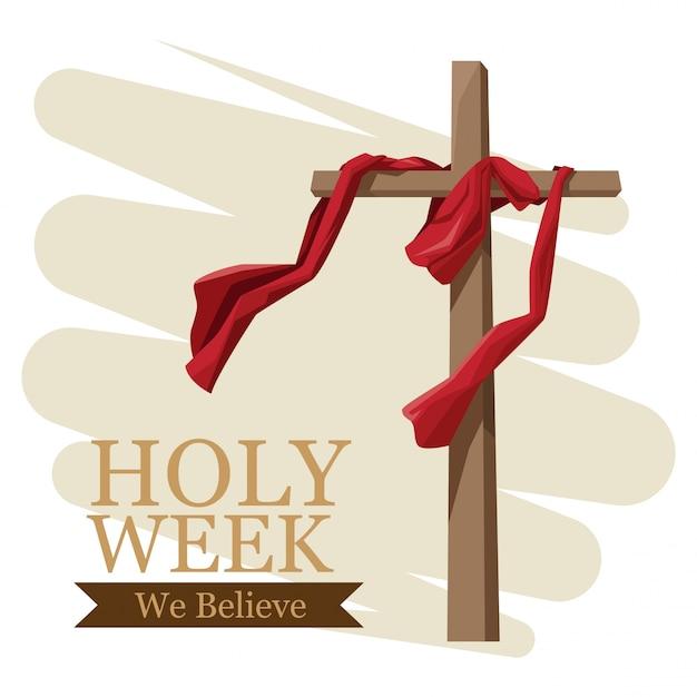 La tradition catholique de la semaine sainte Vecteur Premium