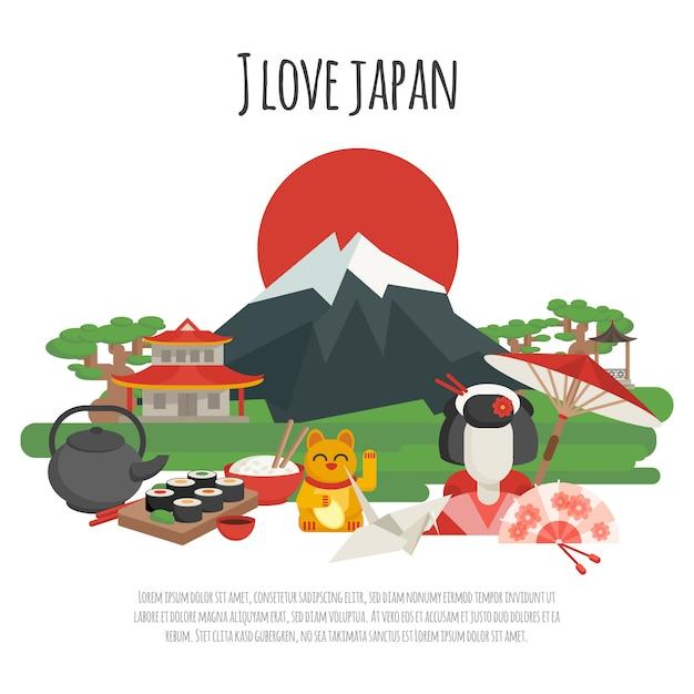 La tradition japonaise affiche des symboles Vecteur gratuit