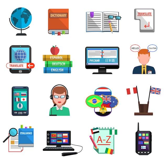 Traducteur multilingue jeu d'icônes plat coloré Vecteur Premium