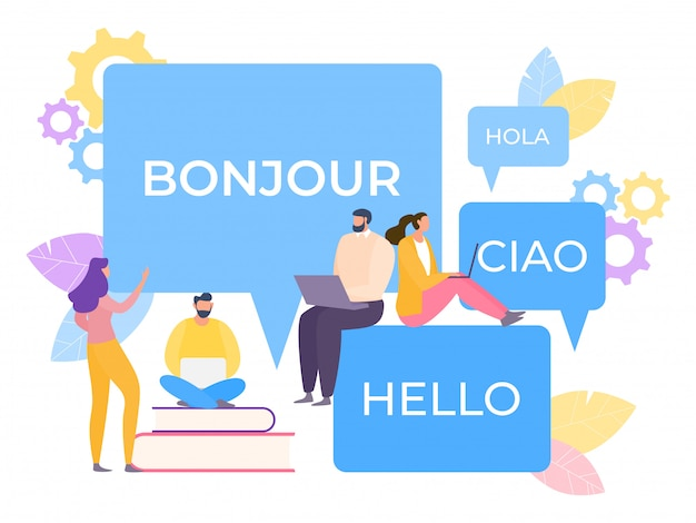 Traducteur Multilingue En Ligne Illustration. L'application Simplifie L'apprentissage De La Parole. La Technologie Convertit La Correspondance. Vecteur Premium