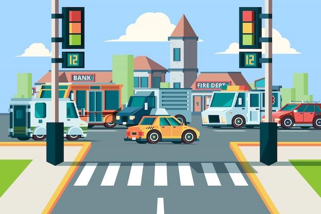 Trafic Routier De La Ville. Intersection De Paysage Urbain Avec Des Voitures De Ville Dans Le Passage Pour Piétons Avec Fond De Lumières Vecteur Premium