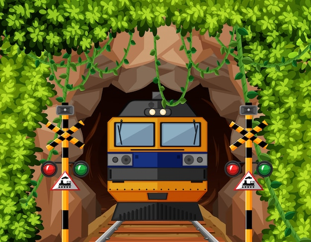 Un train au tunnel Vecteur gratuit