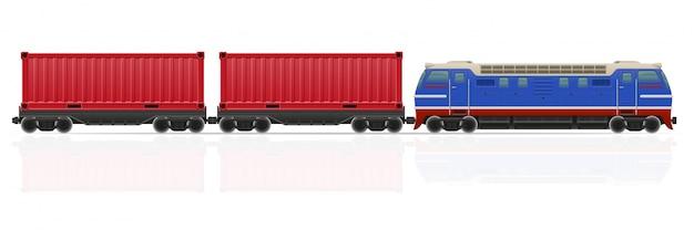 Train De Chemin De Fer Avec Illustration Vectorielle Locomotive Et Wagons Vecteur Premium