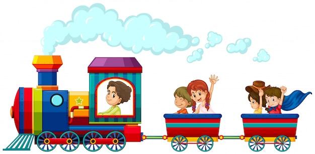 Train Et Enfants Vecteur gratuit