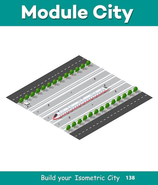 Train à grande vitesse moderne et rapide Vecteur Premium