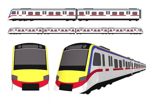 Train à grande vitesse et train électrique Vecteur Premium