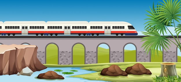 Train moderne à la campagne Vecteur gratuit