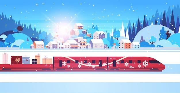 Train Rouge Offrant Des Cadeaux Joyeux Noël Bonne Année Vacances Célébration Express Livraison Concept Hiver Paysage Fond Carte De Voeux Illustration Vectorielle Horizontale Vecteur Premium