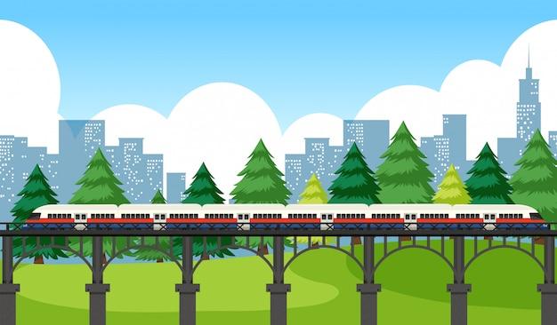 Train traversant la ville Vecteur gratuit