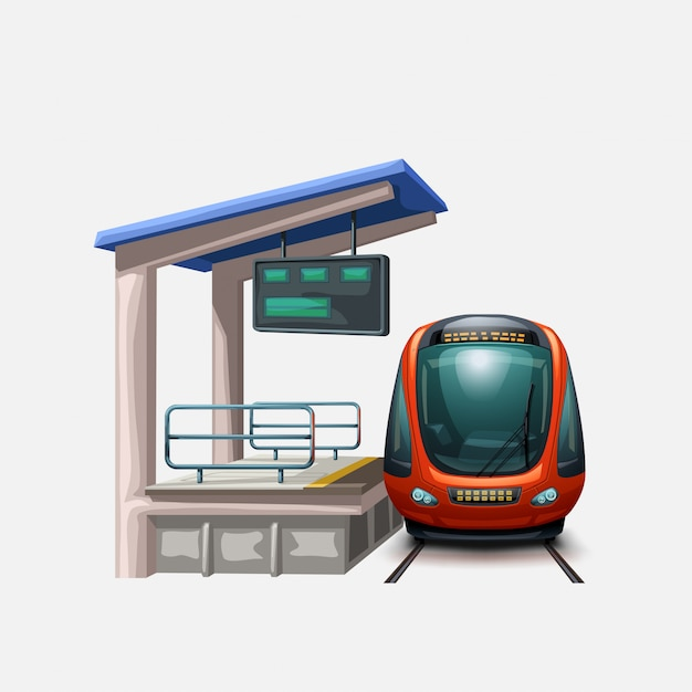 Train En Vue De Face De La Gare Vecteur Premium