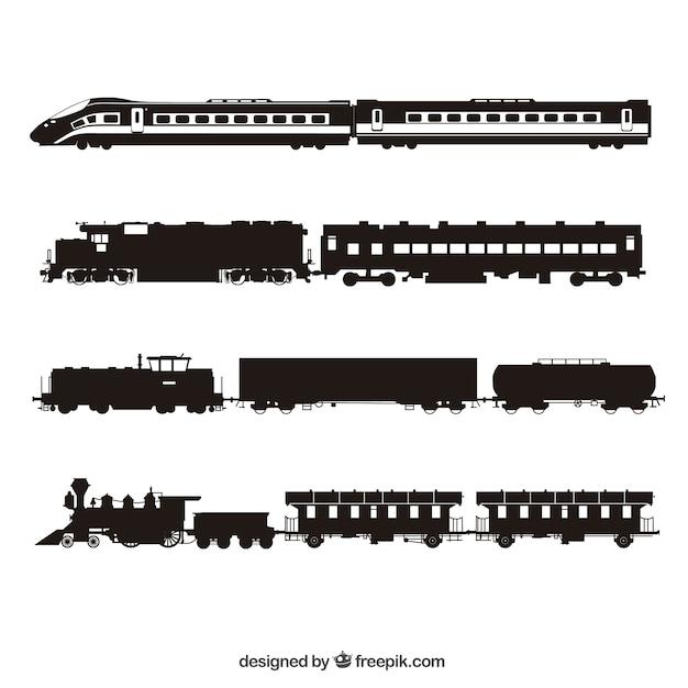 Trains silhouette collection Vecteur gratuit