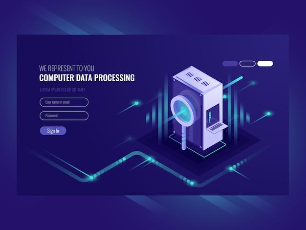 Traitement des données informatiques, optimisation des moteurs de recherche, salle des serveurs Vecteur gratuit