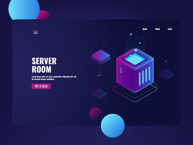 Traitement de données volumineuses, centre de données de salle des serveurs, service de stockage en nuage, connexion à une base de données Vecteur gratuit