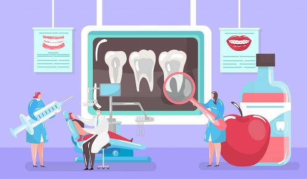 Traitement Du Concept De Carie, Dent De Radiographie Et Cure Médicale Par Le Dentiste Et Patinet En Illustration De Dessin Animé De Mini Personnes De Fauteuil Dentaire. Vecteur Premium