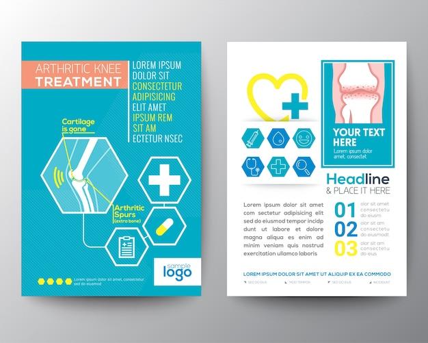 Traitement du genou arthritique soins de santé et affiches brochure flyer modèle mise en page Vecteur gratuit