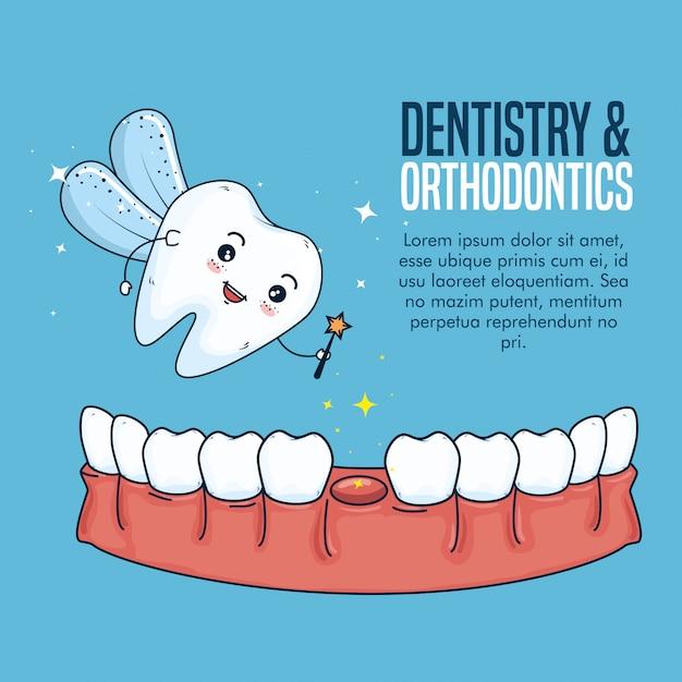 Traitement D'hygiène Dentaire Et Dentaire De Laiterie Vecteur gratuit
